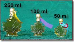 Glass Maple Leaf Bottles (Light Amber Syrup)