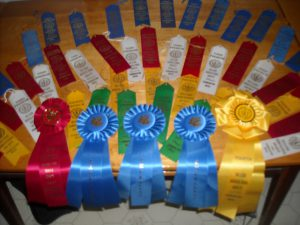 A colorful display of some of the ribbons received by Dufresne's Sugar House for their products