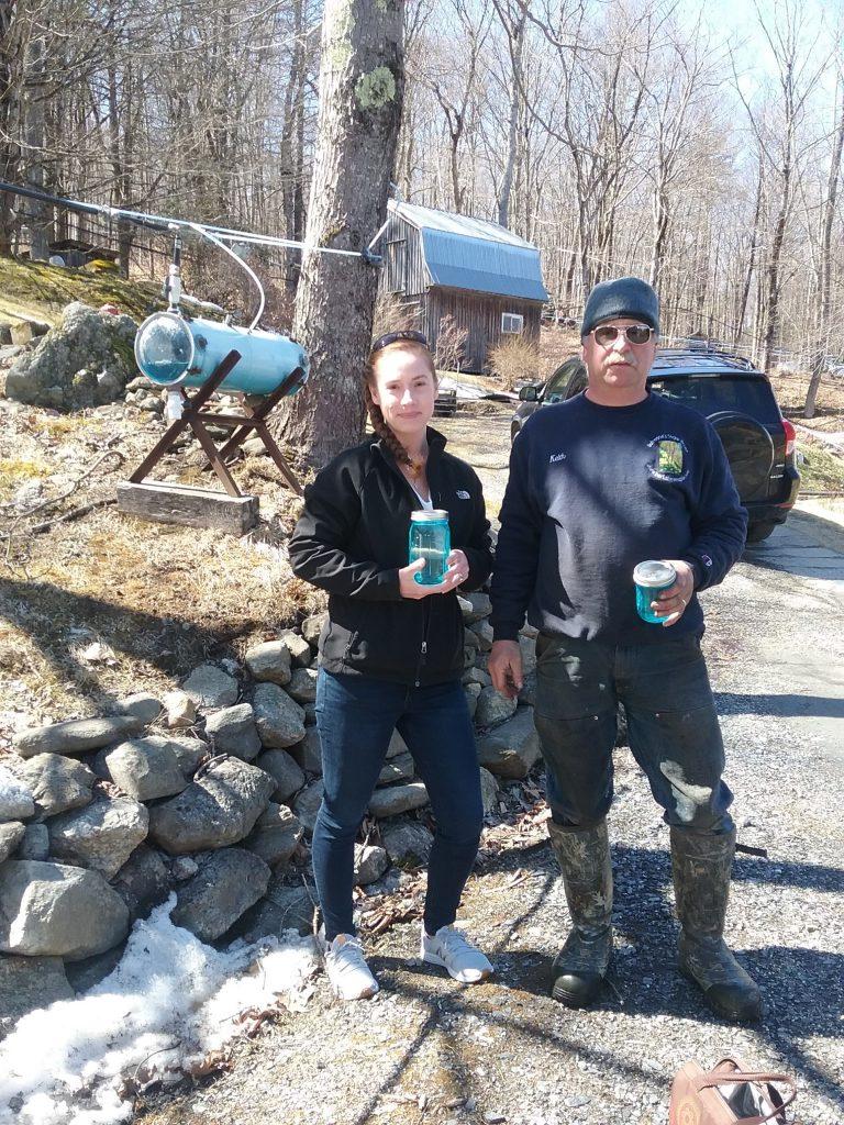 Nikki & Keith collecting sap