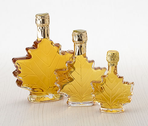 Glass Maple Leaf Bottles (Golden Syrup)